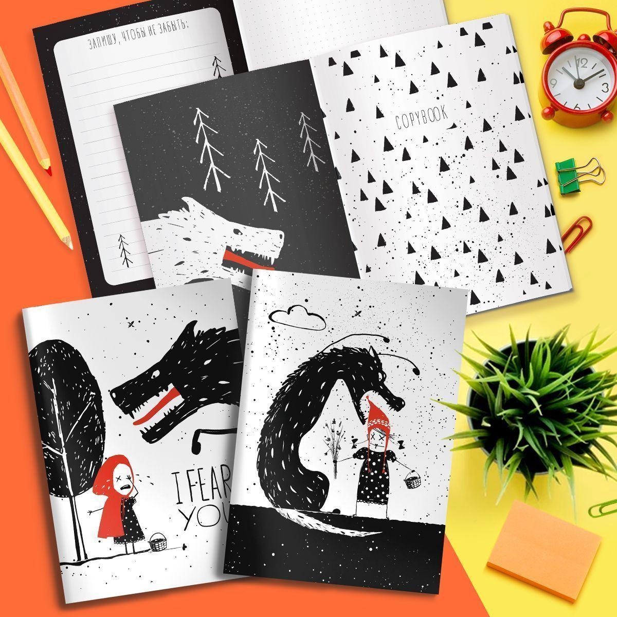 Тетрадь LOREX 48 л, в точку, скрепка, CREEPY WOLF А5 евро,мелованный картон, soft touch лак, офсет, двойная обложка, запечатаный форзац
