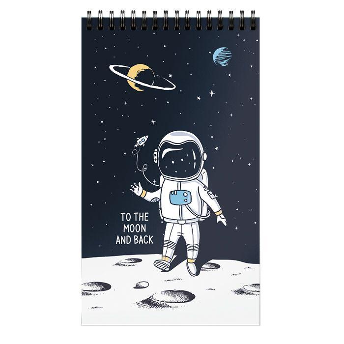 Блокнот Schoolformat А7 40 л, клетка, SPACE ADVENTURE гребень, мелованный картон, глянцевая ламинация