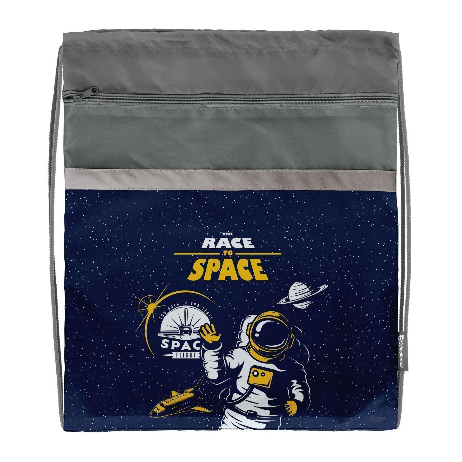 Мешок для обуви Schoolformat большой С КАРМАНОМ, 49х41, серия Race to space