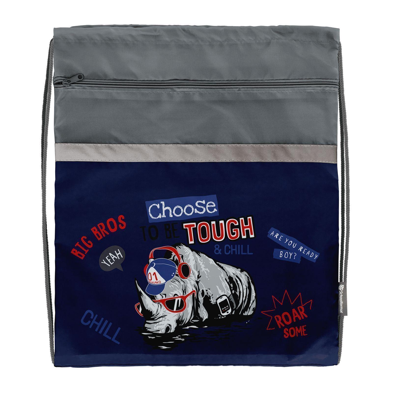 Мешок для обуви Schoolformat большой С КАРМАНОМ, 49х41, серия Cool rhino
