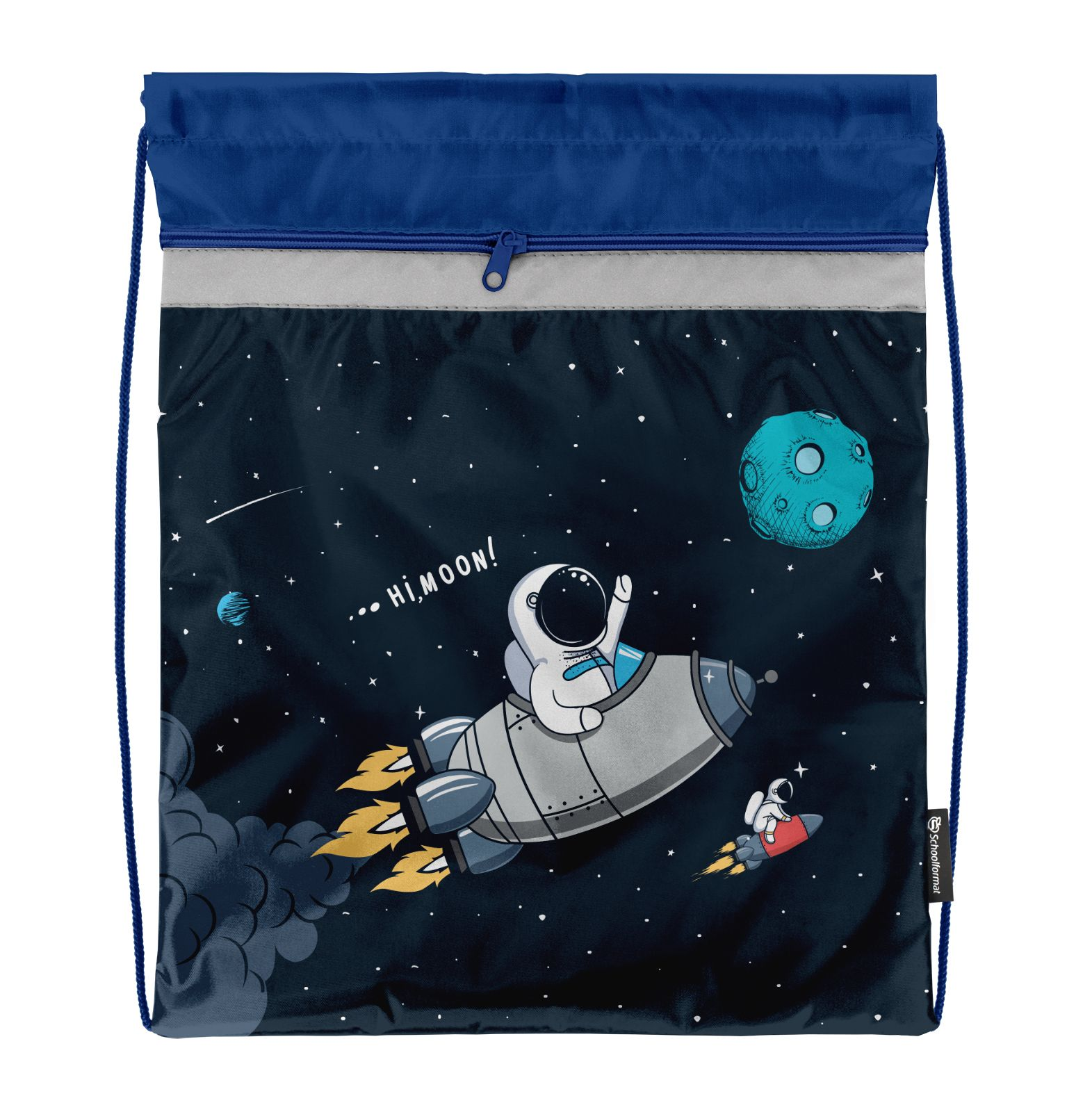 Мешок для обуви Schoolformat стандартный С КАРМАНОМ, 42х34, серия Space adventure