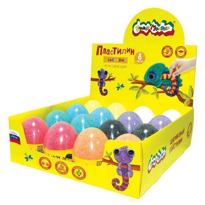 Пластилин шариковый мелкозернистый Каляка-Маляка дисплей 8 цв. 150 мл в прозрачном яйце 16 шт