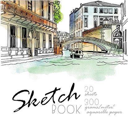 Скетчбук ВЕНЕЦИЯ 200х200 мм 20 л, гребень, soft touch, брайль, акварельная бумага