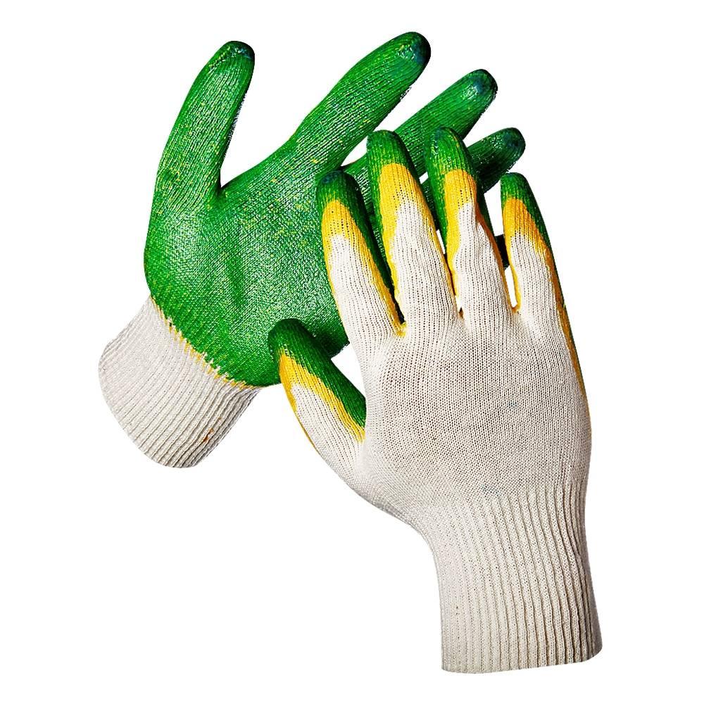 Перчатки трикотажные Текстиль К с двойным неполным латексным покрытием, 5-ти нитка, 10 класс, белые, 5 пар