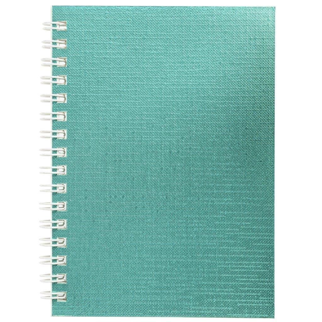 Книжка записная А6 80 л, клетка, METALLIC мятный гребень, бумвинил, металлизация