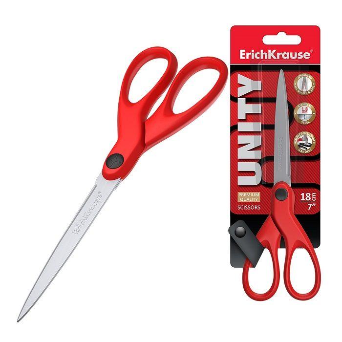 Ножницы ErichKrause® Unity 180 мм, с пластиковыми ручками, красные