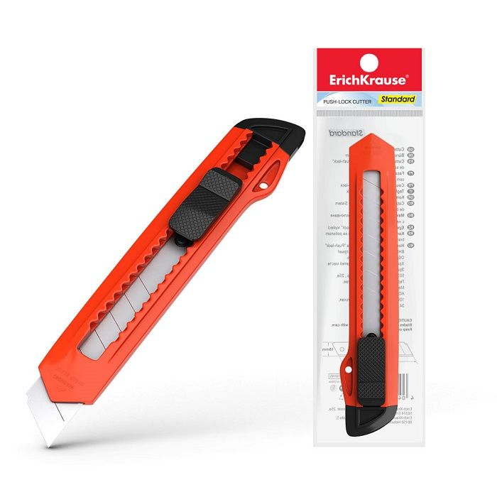 Нож канцелярский c механической фиксацией лезвия ErichKrause Standard, 18мм