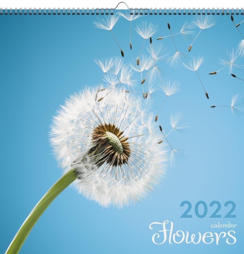 Календарь настенный квартальный 2022г. ЦВЕТЫ 320 х320 мм евроспираль с ригелем 6 листов 1 блок